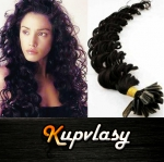 Kudrnaté vlasy na metodu keratin 60cm 0,5g - uhlově černá #1