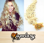 Kudrnaté vlasy na metodu keratin 60cm 0,5g - platinová blond #60