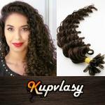 Kudrnaté vlasy na metodu keratin 60cm 0,7g - tmavě hnědá #2