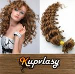 Kudrnaté vlasy na metodu keratin 60cm 0,7g - nejsvětlejší hnědá #12