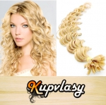 Kudrnaté vlasy na metodu keratin 60cm 0,7g - beach blond #613
