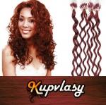 Kudrnaté vlasy na Micro Ring 50cm 0,5g - měděná #350