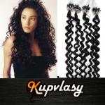 Kudrnaté vlasy na Micro Ring 50cm 0,7g - uhlově černá #1