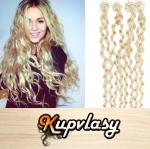 Kudrnaté vlasy na Micro Ring 50cm 0,7g - platinová blond #60