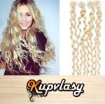 Kudrnaté vlasy na Micro Ring 60cm 0,5g - platinová blond #60