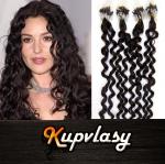 Kudrnaté vlasy na Micro Ring 60cm 0,7g - přírodní černá #1b