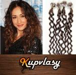 Kudrnaté vlasy na Micro Ring 60cm 0,7g - světlejší hnědá #6