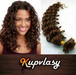 Kudrnaté vlasy na metodu keratin 60cm 0,5g - čokoládově hnědá #4