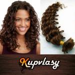 Kudrnaté vlasy na metodu keratin 60cm 0,7g - čokoládově hnědá #4