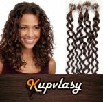 Kudrnaté vlasy na Micro Ring 60cm 0,7g - čokoládově hnědá #4