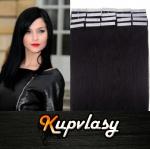 Rovné Tape in vlasy k prodloužení 40cm - uhlově černá #1