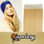 Rovné Tape in vlasy k prodloužení 50cm - přírodní blond #22