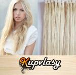 Rovné Tape in vlasy k prodloužení 50cm - platinová blond #60