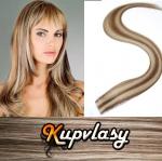 Rovné Tape in vlasy k prodloužení 50cm - světlý melír #12/613