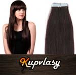 Rovné Tape in vlasy k prodloužení 60cm - tmavě hnědá #2