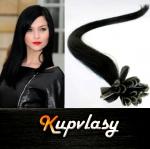 Rovné vlasy na metodu keratin 40cm 0,7g - uhlově černá #1