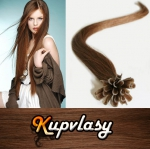 Rovné vlasy na metodu keratin 40cm 0,7g - světlejší hnědá #6