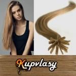 Rovné vlasy na metodu keratin 50cm 0,7g - nejsvětlejší hnědá #12