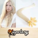 Rovné vlasy na metodu keratin 50cm 0,7g - platinová blond #60