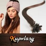 Rovné vlasy na metodu keratin 60cm 0,7g - čokoládově hnědá #4