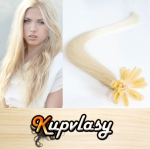 Rovné vlasy na metodu keratin 60cm 0,7g - platinová blond #60