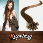 Rovné vlasy na metodu keratin 60cm 0,7g - světlejší hnědá #6