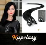 Rovné vlasy na Micro Ring 40cm 0,5g - uhlově černá #1