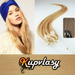Rovné vlasy na Micro Ring 40cm 0,5g - přírodní blond #22