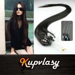 Rovné vlasy na Micro Ring 40cm 0,7g - přírodní černá #1b