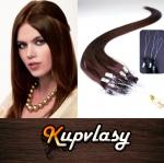 Rovné vlasy na Micro Ring 40cm 0,7g - čokoládově hnědá #4