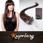 Rovné vlasy na Micro Ring 50cm 0,7g - tmavě hnědá #2