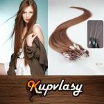 Rovné vlasy na Micro Ring 50cm 0,7g - světlejší hnědá #6