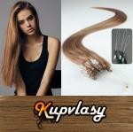 Rovné vlasy na Micro Ring 50cm 0,7g - nejsvětlejší hnědá #12