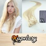 Rovné vlasy na Micro Ring 50cm 0,7g - platinová blond #60