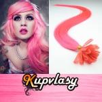 Rovné vlasy na metodu keratin 60cm 0,7g - růžová #pink