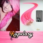 Rovné vlasy na Micro Ring 60cm 0,5g - růžová #pink