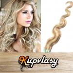 Vlnité Tape in vlasy k prodloužení 50cm - melír popelavě-beach blond #60/16