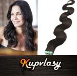 Vlnité Tape in vlasy k prodloužení 60cm - přírodní černá #1b