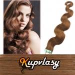 Vlnité Tape in vlasy k prodloužení 60cm - nejsvětlejší hnědá #12