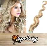 Vlnité Tape in vlasy k prodloužení 60cm - melír popelavě-beach blond #60/16