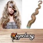 Vlnité Tape in vlasy k prodloužení 60cm - světlý melír #12/613