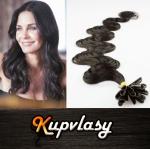 Vlnité vlasy na metodu keratin 50cm 0,7g - přírodní černá #1b