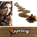 Vlnité vlasy na metodu keratin 50cm 0,7g - nejsvětlejší hnědá #12