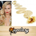 Vlnité vlasy na metodu keratin 50cm 0,7g - beach blond #613