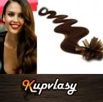 Vlnité vlasy na metodu keratin 60cm 0,5g - tmavě hnědá #2