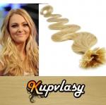 Vlnité vlasy na metodu keratin 60cm 0,5g - přírodní blond #22