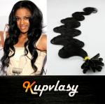 Vlnité vlasy na metodu keratin 60cm 0,7g - uhlově černá #1