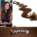 Vlnité vlasy na metodu keratin 60cm 0,7g - světlejší hnědá #6
