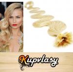 Vlnité vlasy na metodu keratin 60cm 0,7g - beach blond #613