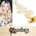 Vlnité vlasy na metodu keratin 60cm 0,7g - platinová blond #60